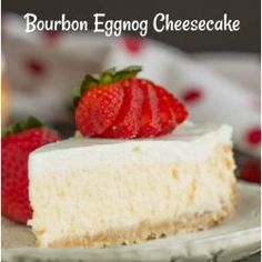 Woodford Reserve Bourbon Eggnog Cheesecake with Vanilla Wafer Crust recipe bakes eggnog & bourbon into your favorite smooth and creamy cheesecake. Caramel Apple Cheesecake Bars, Eggnog Cheesecake, Cheesecake Recipes, Fun Desserts, Delicious Desserts, Dessert Recipes, Bourbon Whiskey, Mini Cherry Cheesecakes, Deserts