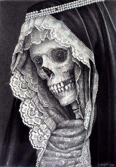 santa muerte drawing by Laurie Lipton Memento Mori, Art Harley Davidson, Gouts Et Couleurs, Totenkopf Tattoos, Skull And Bones, Skull Art, Lace Skull, Bird Skull, Skull Head