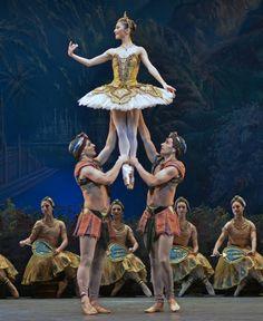 Yuhui Choe lifted by Johannes Stepanek and Valeri Hristov The Royal Ballet in La Bayadere, April 2013