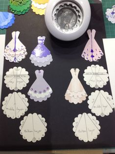 card making tips embellishments Party or wedding dress embellishments from scallop punch Paper Punch Art, Punch Art Cards, Card Making Tips, Card Making Techniques, Wedding Shower Cards, Wedding Cards, Art Carte, Dress Card, Craft Punches