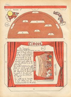 dec cirque 1 by pilllpat (agence eureka) Maria Jose, Vintage Ephemera, Vintage Paper, Fun Crafts, Paper Crafts, Halloween Circus, Toy Theatre, Theater, Mini Craft