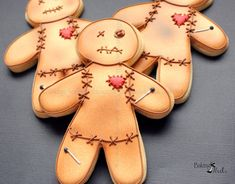 Listing is for 12 Voodoo Doll Cookies  DATE NEEDED: Please leave your event date in note to seller during checkout. ****************************************************************************** CUSTOM LISTING: If you need additional cookies please convo me and I would be glad to put up a special listing for you. Each cookie is heat sealed in a clear cello bag and tied with coordinating ribbon.  You can choose from our signature vanilla almond sugar cookie or Chocolate fudge sugar cookie…