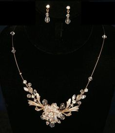 Gold-Pearl-Rhinestone-Floral-Prom-Wedding-Bridal-Necklace-Earring-Jewelry-Set
