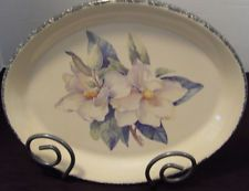 Home U0026 Garden Party Ltd. Platter With Magnolia With Plate Holder Hand Made