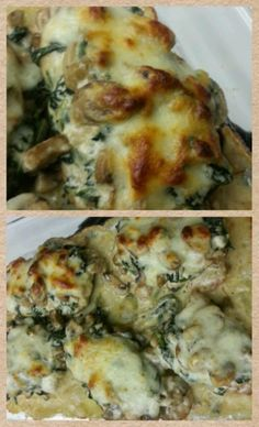 Cheesy Spinach and Mushroom Chicken Bake Recipe by My Kitchen Escapades Made by Ono Kine friend Aisa Esquejo Saavedra http://www.mykitchenescapades.com/2013/06/cheesy-spinach-mushroom-chicken-bake.html