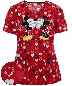 a7fe0f421a5 Cherokee Tooniforms Disney My Secret Print Scrub Top, Valentine Scrubs