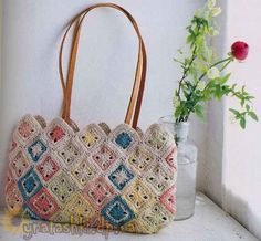 Bag of crochet squares