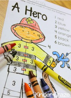 Kids Safety FREE color by number for fire prevention week - Teach your kindergarteners about fire safety in Fire Prevention Month with a visit to your local fire station, a FREE color-by-number and other resources! Community Helpers Kindergarten, Kindergarten Social Studies, Community Helpers Crafts, Teaching Kindergarten, Preschool Lessons, Preschool Activities, Preschool Fire Safety, Fire Safety Crafts, Space Activities