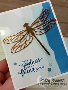 Faux Torn Edge featuring glossy paper and Stampin' Up! ink pads with Copper Foil die cut dragonfly and So Many Shells stamp set.  Card ideas and