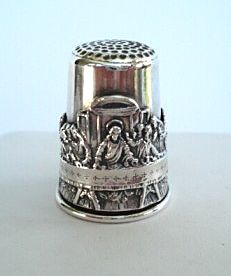 Rare Antique Sterling Silver Religious Last Supper Thimble Signed Holy Land 12 Apostles Unbelievable Details