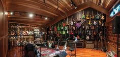 home music studio, guitar display Home Studio Musik, Music Studio Room, Studio Setup, Steve Vai, Guitar Wall, Guitar Room, Guitar Display, Guitar Storage, Home Music Rooms
