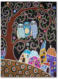 Karla Gerard Three Owl Tree Town Landscape Canvas ACEO Folk Art Print Very cute. (Size of a baseball card. We'd need bigger size. Art Fantaisiste, Owl Art, Owl Canvas, Canvas Art, Painted Canvas, Hand Painted, Karla Gerard, Posca Art, Art Populaire