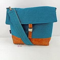 Lulu Large Flap Messenger Satchel   Teal Linen and by marandalee