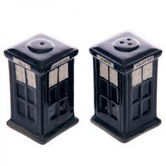 Novelty Ceramic Police Box Salt and Pepper Set