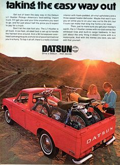 1971 Datsun Lil Hustler Pickup Truck Advertising Hot Rod Magazine March happened to the mini truck? Mini Trucks, Old Trucks, Pickup Trucks, Kawasaki Motorcycles, Cars Motorcycles, Vintage Advertisements, Vintage Ads, Datsun Car, Nissan Trucks