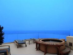 This has got to be my favorite photo from this Malibu Ocean front property. Rooftop Deck With Spa Tub