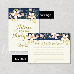 Advice For The Newlyweds Cards and Sign, Navy Bridal Shower Games, Shabby Chic Floral Wedding Advice Cards - SKUHDG10 by hellodreamstudio on Etsy
