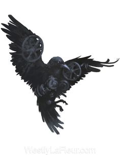 Clockwork Raven by WestlyLaFleur on DeviantArt, I like the concept. ----> not really related to the story (besides, you know, the raven part XD) but I like this pic Crow Art, Raven Art, Bird Art, Geometric Tattoo Raven, Black Crow Tattoos, Black Bird Tattoo, Corvo Tattoo, Raven Pictures, Crows Drawing
