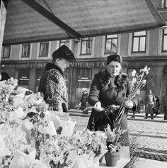 Östermalmstorg 1944. En kvinna i leopardmönstrad päls handlar blommor på torget.