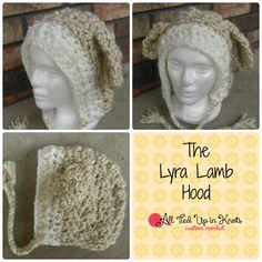 Crochet Lyra Lamb Hood. Pattern by The Velvet Acorn. Stitched by All Tied Up In Knots. www.facebook.com/alltiedupinknots www.etsy.com/shop/homemadebyholmberg