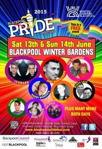 Blackpool Pride Festival will take place June 13th and 14th this year at The Winter Gardens Blackpool  - VisitBlackpool - http://www.visitblackpool.com/blackpool-pride-festival-13th14th-june-2015/