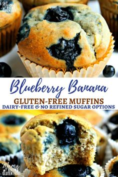 The only gluten-free blueberry banana muffin recipe youll ever need; a one bowl wonder! No mixer required for these super moist gluten-free blueberry banana muffins. Dairy-free and no refined sugar options make this healthy blueberry muffin recipe a good Sugar Free Muffins, Gluten Free Blueberry Muffins, Banana Blueberry Muffins, Gluten Free Banana, Healthy Muffins, Banana Recipes Dairy Free, Blueberries Muffins, Gluten Free Desserts, Gluten Free Recipes