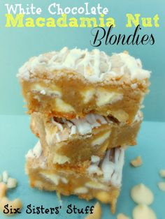 White Chocolate Macadamia Nut Blondies from SixSistersStuff.com