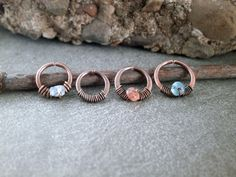 Rustic Copper Nose Ring Wire Wrap Gemstone Nose by RuthAndJack