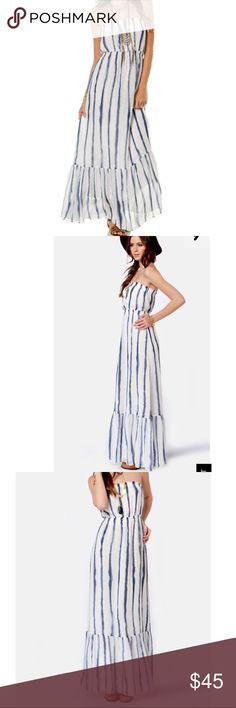 """QSW Indigo Splash Maxi dress Strapless Maxi dress, elastic waistband and top. Ruffle hem, fully lined, white and navy watercolor stripe. Like new condition. Size medium measures 13""""across chest,13"""" across waist, 43"""" from waist to hem. Quiksilver Dresses Strapless"""