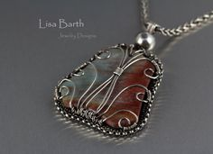 Red Jasper Woven Frame Pendant by LisaBarthJewelry on Etsy