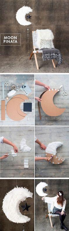 DIY Moon Pinata tutorial for weddings - Creative Diy Poject Ideas Festa Party, Diy Party, Party Deco, Ideias Diy, Diy Décoration, Diy Wedding Decorations, Wedding Ideas, Diy Gifts, Diy And Crafts