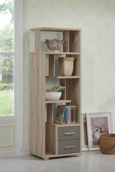 Helsa Bookcase Drw in Light Oak - Acme Furniture Helsa bookcase is functionally designed with an attractive classic light oak finish to enhance your decor. Organize your essentials with this unique, stylish bookcase. Different level contoured Acme Furniture, Home Office Furniture, Diy Furniture, Furniture Design, Furniture Storage, Furniture Outlet, Online Furniture, Bookshelf Design, Bookshelves