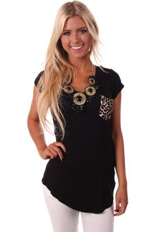 Lime Lush Boutique - Black Top with Leopard Pocket Detail, $39.99 (http://www.limelush.com/black-top-with-leopard-pocket-detail/)