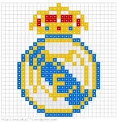 Escudo RM Hama Beads Minecraft, Minecraft Pixel Art, Perler Beads, Pixel Beads, Fuse Beads, Logo Real Madrid, Modele Pixel Art, Pixel Drawing, Hama Beads Design