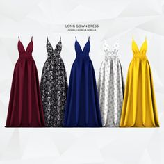 Long Gown Dress for The Sims 4 Mods Sims 4, Sims 4 Mods Clothes, Sims 4 Clothing, Long Gown Dress, The Dress, Sims 4 Wedding Dress, Play Sims 4, Pelo Sims, Sims 4 Children