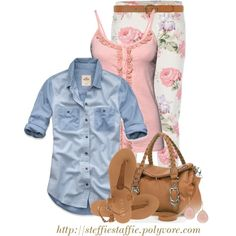 """Floral Denim, Pink Ruffles & Chambray"" by steffiestaffie on Polyvore"