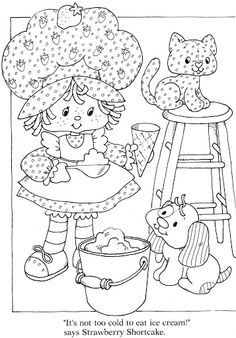 Cute Vintage Strawberry Shortcake Pup Kitten Coloring Pages