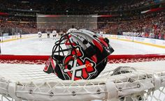 BUFFALO, NY - DECEMBER 19: The mask of goaltender Corey Crawford rests on the net prior to the opening faceoff of an NHL game between the Buffalo Sabres and the Chicago Blackhawks on December 19, 2015 at the First Niagara Center in Buffalo, New York. (Photo by Bill Wippert/NHLI via Getty Images)