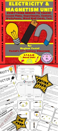 Electricity and Magnetism is one of my favorite science units and EVERYTHING you need to teach a science unit on electricity and magnets can be found here! This 2 ½ week, 80 page electricity and magnetism unit includes 9 S.T.E.A.M. Based Science Lessons on Everything Electricity & Magnetism!