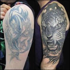before_and_after_tattoo_12 #AsianMakeupTutorial Cover Up Tattoos For Men, Black Tattoo Cover Up, Cover Tattoo, Tattoos For Guys, Asian Tattoos, Old Tattoos, Black Tattoos, Body Art Tattoos, Cover Up Tattoos Before And After