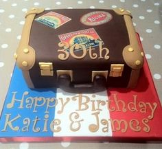 Vintage suitcase birthday cake - travel theme. 17th