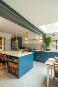 Ground-Floor-Kitchen-Extension-Exposed-Steel-Beam-Dark-Blue-Kitchen I like the Steel Beam detail being shown / remains exposed Kitchen Diner Extension, Open Plan Kitchen Diner, Open Plan Kitchen Living Room, Kitchen Dining Living, Home Decor Kitchen, Kitchen Interior, Home Kitchens, Kitchen Extension Steel Beam, Kitchen Island