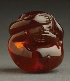 """Kaigyokusai (Masatsugu) (Japan, Osaka, 1813-09-13 - 1892-01-21)   """"No Evil"""" Monkey, mid- to late 19th century  Netsuke, Wine-colored amber"""