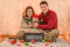 Christmas Photography, Holiday Photography, Family Photography, Studio Photography, Ornaments, Chalk Board, Lights, Bokeh, Baby, Parents, Cleveland Ohio, Northeast Ohio, Christmas Lights, Dapper Baby