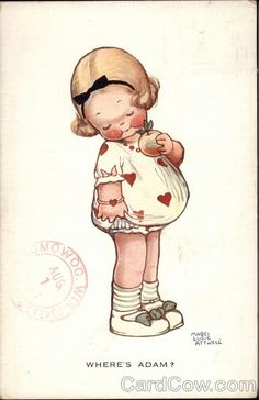 Mabel Lucie Attwell.                              Love this little girl with the red hearts on her dress. Reminds me....I have a daughter and twin grand-daughters born on Valentines Day.