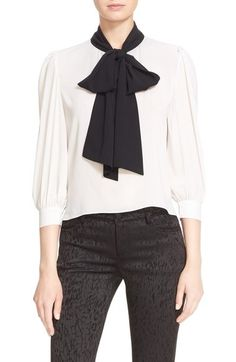 211be74c4dabd Alice + Olivia  Treena  Contrast Bow Stretch Silk Blouse available at   Nordstrom Bow