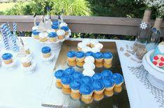Anchor Pull Apart Cupcakes White and Blue Nautical Theme