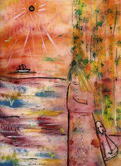 """Waiting"". 20x30 cm. Paper. Gouache. http://www.facebook.com/thecatalinalira"
