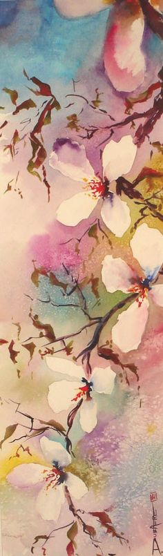 Painting watercolor flowers