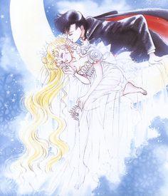 "Princess Serenity (Usagi Tsukino)  Prince Endymion (Mamoru Chiba) from ""Sailor Moon"" series by manga artist Naoko Takeuchi."